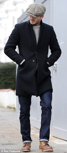 David Beckham wearing a tweed Baker Boy. Very stylish man.