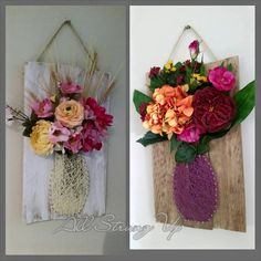 Hanging flower vase string art. Spring flowers blooming away all year long. Simple easy and different! Check us out on Facebook at All Strung Up. https://www.facebook.com/pages/All-Strung-Up/915873695199667?ref=hl