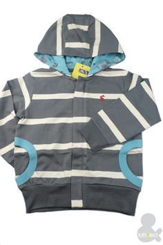 joules Toddler Boy Striped Hoody - gray stripes with touch of blue
