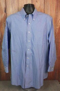 Brooks Brothers Blue Striped Non Iron Oxford Dress Shirt Mens 17.5 - 32/33  #1 #BrooksBrothers