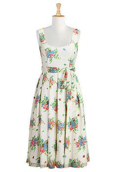 I <3 this Floral posy print chiffon plus size dress from eShakti