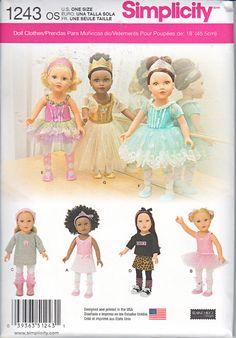 "Simplicity 1243 18"" American Girl Doll Clothes Ballet Tutu Dress Slippers Leggings Skirt Tights Leotard Leg Warmers Sewing Pattern New UNCUT"
