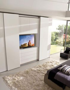 New Contemporary Bedroom Door Design Ideas Wardrobe Design Bedroom, Bedroom Closet Design, Tv In Bedroom, Bedroom Furniture Design, Modern Bedroom Design, Bedroom Doors, Contemporary Bedroom, Sliding Door Wardrobe Designs, Wardrobe Doors