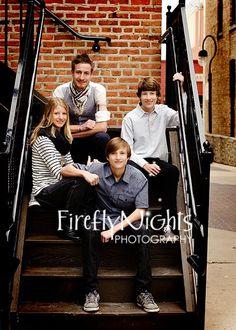 teens staircase pose #siblings #older #family