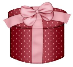 Red Hearts Round Gift Box PNG Clipart