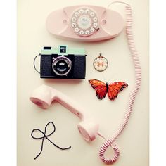 Pretty Girl 8x10 Fine Art Print Vintage Pink Aqua Phone Butterfly... ($25) ❤ liked on Polyvore