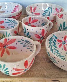 Pottery Mugs, Ceramic Pottery, Pottery Art, Pottery Painting, Ceramic Painting, Pottery Designs, Mug Designs, Crackpot Café, Painted Mugs