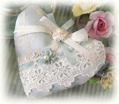 Heart Sachet Sachet Heart Aqua Damask Decorator ♥ by CharlotteStyle, $13.50