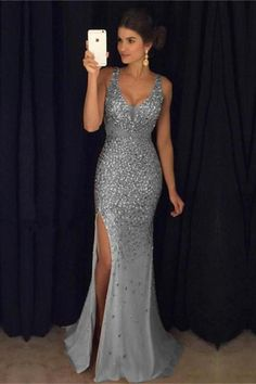Sexy Leg Split Crystal Beaded Mermaid Prom Dresses V-neck Evening Gowns Item Description : A Glamorous Form Fitting crystal Mermaid Dress Featuring a v-neckline with spaghetti straps and Leg slit,open back design. Perfect For Prom,E Split Prom Dresses, Grad Dresses Short, Dance Dresses, Sexy Dresses, Homecoming Dresses, Long Dresses, Form Fitting Prom Dresses, Long Sparkly Dresses, Maxi Dresses
