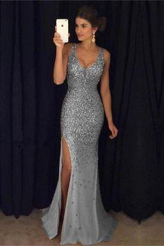 Gold Crystals Mermaid Prom Dresses 7452f4e3de5e