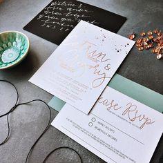 Rose gold and sage green wedding invitation