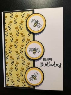 Made this card using the bee from the January Paper Pumpkin (I'll be Yours) and the Golden Honey Specialty DSP from Sale-A-Bration. I colored the DSP using a brayer with Daffodil Delight ink. Birthday Cards For Women, Handmade Birthday Cards, Bee Cards, Making Greeting Cards, Paper Cards, Folded Cards, Butterfly Cards, Fall Cards, Scrapbook Cards