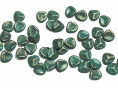 Czech Pressed Glass Beads Rose Petals 8x7mm Persian Turquoise Copper Picasso(50)