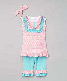 Love this Pink & Blue Geo Ruffle Tank Set - Toddler & Girls by Sew Cute Monograms on #zulily! #zulilyfinds