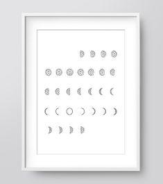 Moon/ Lunar Calendar Moon Phases Printable Art Wall by IzzyIves Nursery Prints, Wall Art Prints, Hipster Nursery, Woodland Art, Lunar Phase, Bear Decor, Print Calendar, Fox Print, Moon Art