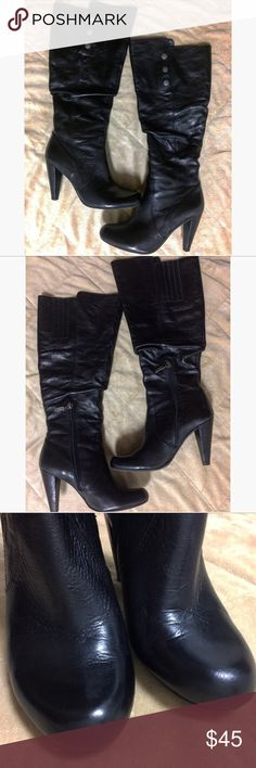 """Guess Leather WG Gillian Black Boots - 6 Gently used. Very well cared for. Some creasing (see photos) No known or noticeable scuffs or tears. Last photo shows that the Zipper has done some damage on the interior flap, but this flap is inside the shoe. Heel is 3.5"""". Total height is 18"""" Guess Shoes Heeled Boots"""