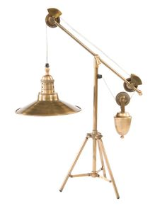 The Franklin Industrial Loft Vintage Brass Pulley Table Lamp from Kathy Kuo Home will make a marvelous addition to your well-appointed home. Part of Art & Home's complete Table Lamps collection. Industrial Stairs, Industrial Interiors, Industrial Living, Rustic Industrial, Industrial Furniture, Industrial Windows, Kitchen Industrial, Industrial Apartment, Industrial Bedroom