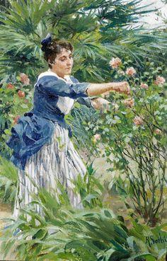 Sorbi, Raffaello - Pruning the Roses, by 1931 Love Garden, Garden Club, Garden Art, Garden Ideas, Pruning Roses, Garden Of Earthly Delights, Italian Painters, Italian Art, Flower Fashion