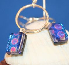 Dichroic Glass Dangle and Fine Silver Circle by hbjewelrydesign, $18.00