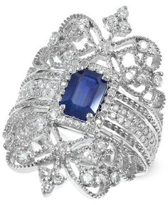 Royal Bleu by Effy Sapphire (1 ct. t.w.) and Diamond (3/4 ct. t.w.) Ring in 14k White Gold