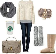 Light grey boyfriend tank, off white sweater, dark grey infinity scarf, dark skinny jeans, boots.