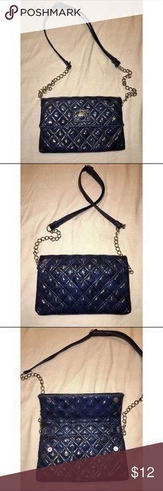 Quilted Navy Chain Crossbody ****MAKE AN OFFER! DISCOUNT ON BUNDLES!!!****  Quilted navy crossbody with silver chain strap and hardware. Only used a couple times. Excellent condition, no damage! Bags Crossbody Bags