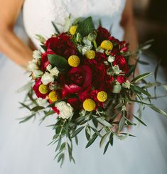 Bouquet with red peonies + yellow craspedia