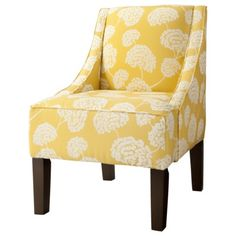 burke armless upholstered slipper chair - aegean blue/yellow
