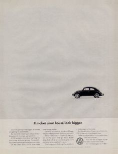 "1964 Volkswagen Beetle original vintage advertisement. ""It makes your house look bigger."""
