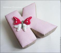 Купить Буквы-подушки, 25 см - бледно-розовый, буквы-подушки, интерьерные слова
