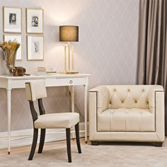 Browse a stunning range of chic, white painted furniture and timeless elegant furniture collections at Homes in Heaven in Fulham, London – online retailer of home furniture for living and dining rooms, bedrooms and kitchens. White Painted Furniture, Stylish Chairs, White Paints, Office Desk, Home Furniture, Armchair, Vanity, Bedroom, Table