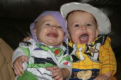 First Halloween - twin boys buzz woody costumes