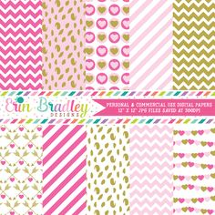 Pink and Gold Valentines Day Digital Paper Pack – Erin Bradley/Ink Obsession…