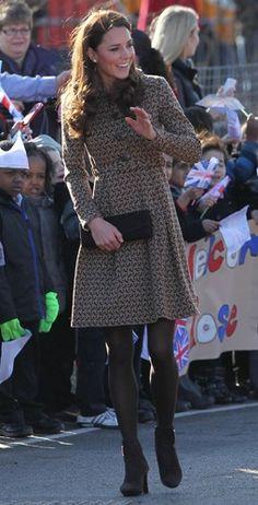 Kate Middleton wearing Orla Kiely bird coat
