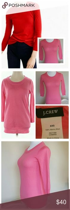 """J.Crew Merino Wool Pink Tippi Sweater Excellent condition, like new. Wool sweater from J.Crew. Size XXS, but could fit XS or SMALL, see measurements below. Pretty pink crew neck sweater, very soft. 3/4 length sleeves. Laying flat: 32"""" Bust, 30"""" Waist, 24"""" Length (3"""" drop) with stretch. 100% Merino wool. J. Crew Sweaters Crew & Scoop Necks"""