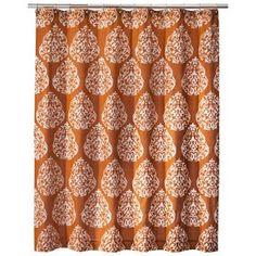 Gorgeous shower curtain. Bronze & orange them for bathroom?