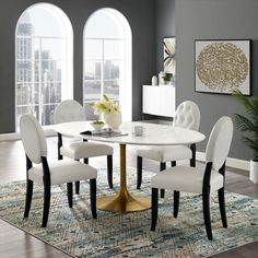 Modway Furniture Modern Lippa Oval Dining Table in Gold White - EE – Minimal & Modern Tulip Dining Table, Dining Table In Kitchen, Table And Chairs, Dining Room, Dining Furniture, Modern Furniture, Home Decor, Modernism, Langley Street