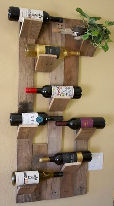 88 Genius Diy Wine Rack Ideas Offer Unique Touch Home I was looking at an interesting bar item the other day. It might have held about sixty bottles of wine and […] Unique Wine Racks, Rustic Wine Racks, Diy Wine Racks, Hanging Wine Rack, Wine Rack Wall, Bottle Rack, Wine Bottle Holders, Pallet Wine Holders, Wine Shelves