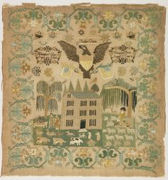 Sampler, 1825. Medium: silk embroidery on linen foundation Technique: embroidered in satin, cross, stem, chain, and buttonhole stitches on plain weave foundation