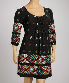 Love this Charcoal Geometric Shirred Empire-Waist Dress - Plus by Ice Silk on #zulily! #zulilyfinds