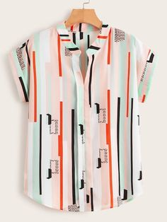 V-neck multi-stripe rolled cuff blouse Mens Clothing Uk, Mens Printed Shirts, African Men Fashion, Summer Shirts, Mode Style, Look Cool, Casual Shirts For Men, Shirt Sleeves, Stylish Outfits