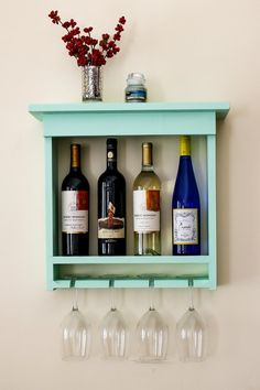 Mint Green Wall Mounted Wine Rack With Wine Glass Slots And Shelf Top