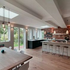 8 interior design large open plan kitchen diner extension 8 « A Virtual Zone Open Plan Kitchen Dining Living, Open Plan Kitchen Diner, Living Room Kitchen, Home Decor Kitchen, Interior Design Kitchen, Home Kitchens, Dream Kitchens, Kitchen Wood, Kitchen Ideas