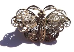 Sterling Silver Filigree Butterfly Pin Vintage by OodlesofBling Old Jewelry, Jewelry Sets, Vintage Jewelry, Butterfly Pin, Sterling Silver Filigree, Beautiful Butterflies, Ring Bracelet, Vintage Brooches, Victorian Fashion