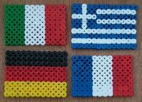 Flags of France, Italy, Greece and Germany (fuse beads)