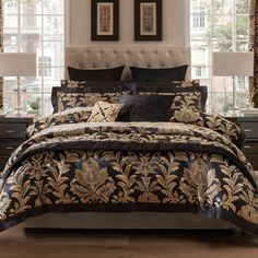 From the sumptuous Dorma range, this duvet cover features a decadent black and gold jacquard design with an ornate damask pattern. Finished with a sophisticated oxford style edging, this duvet cover is machine washable for ease of cleaning. Choose from a range of sizes. Coordinating items are available.This product is STANDARD 100 by OEKO-TEX® Certified. This means that it has been tested to ensure it is free of harmful substances and therefore harmless in human ecological terms.[Complete… Gold Bedding Sets, Luxury Bedding Sets, Black Bedding, Comforter Sets, Modern Bedding, Damask Bedding, Linen Duvet, King Comforter, Black Gold Bedroom