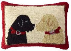 L.L. Bean L.L.Bean Wool Hooked Throw Pillow, Two Labs