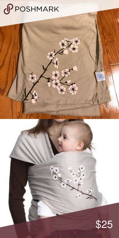 Moby Wrap Baby Carrier Tan baby wrap carrier with blossom design. Super comfortable for baby wearing! Only worn a few times- great condition! Moby Accessories