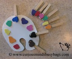Paint Palette Busy Bag You get a paint palette with corresponding colored paint brushes to clip on the correct color. Great for fine motor also! $5.00