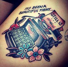 Traditional tattoo. Typewriter and flowers tattoo. Tony Talbert